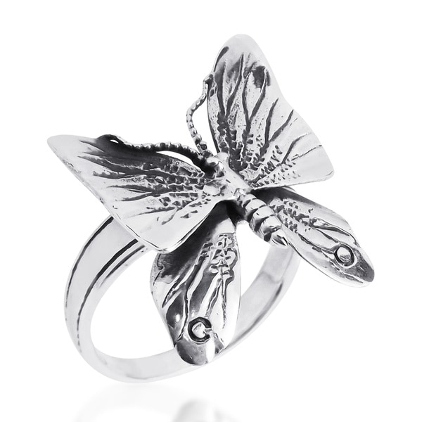 Moveable Fluttering Wings Butterfly 925 Silver Ring (Thailand)