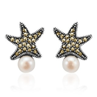 Magic Starfish Pearl Marcasite Adorned .925 Silver Earrings (Thailand)
