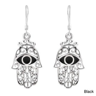 Jewish Hamsa Hand Evil Protection .925 Silver Earrings (Thailand)