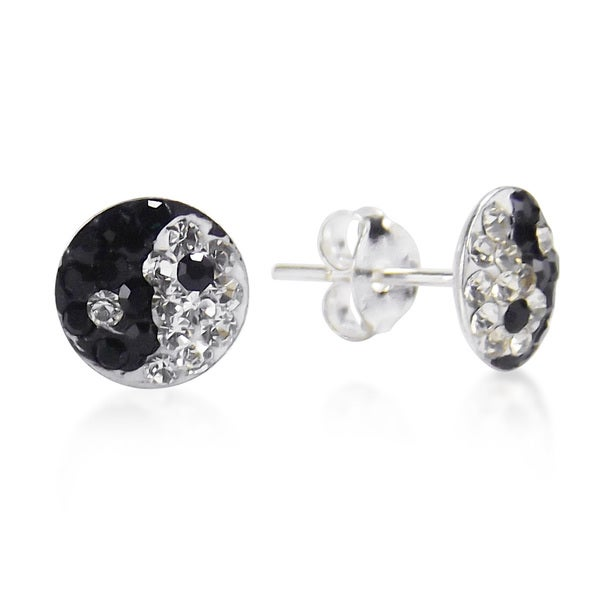7mm Yin Yang Balance Sparkle .925 Silver Stud Earrings (Thailand)