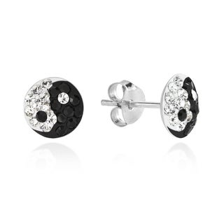 7mm Yin Yang Balance Sparkle .925 Silver Stud Earrings (Thailand)