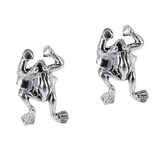 Petite Leaping Rain Frog .925 Sterling Silver Post Earrings (Thailand)