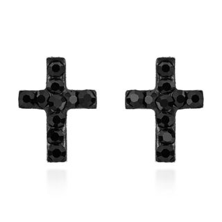 Mini Crystal Cross Sterling Silver Stud Earrings (Thailand)
