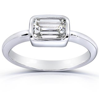 Annello 14k White Gold Certified 1ct Emerald-cut Diamond Solitaire Ring (I, VVS2)