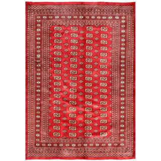 Pakistani Hand-knotted Bokhara Red/ Ivory Wool Rug (6' x 8'11)