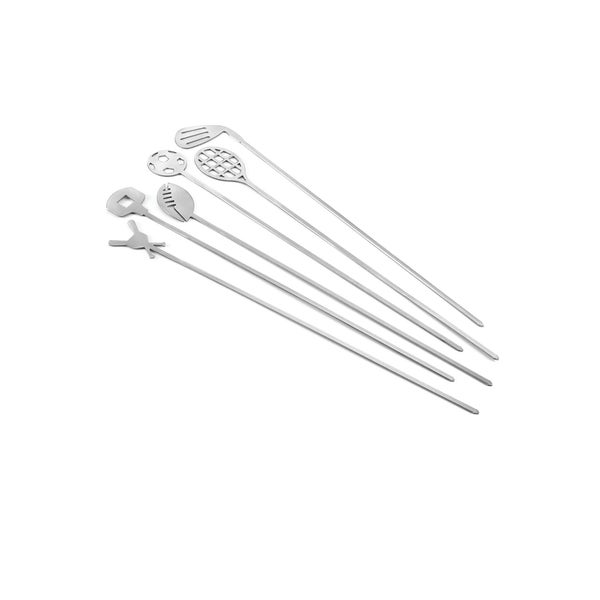 Outset Sports Themed Stainless Steel Skewers (Set of 6)