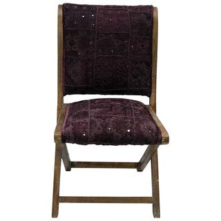 nuLOOM Handmade Bombay Purple Cotton Upholstered Folding Chair