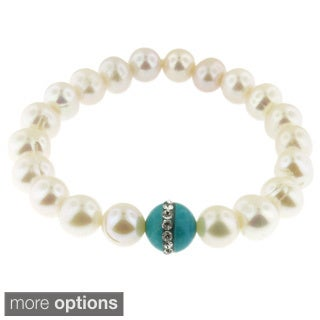 Handmade Freshwater Pearl Stretch Bracelet with Gemstone and Crystal Bead (USA)