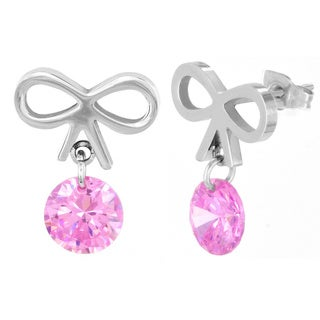 ELYA Pink Cubic Zirconia Bow Stud Earrings