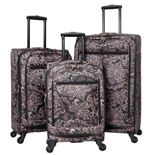Designer Floral Damask 3-piece Expandable Spinner Upright Polyester Luggage Set