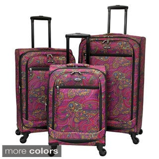 Spotlight Designer Paisley Print 3-piece Expandable Spinner Upright Luggage Set