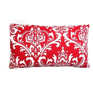 Contemporary Geometric Red/ White Damask Lumbar Pillow