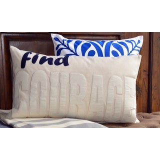 Contemporary Neutral Inspirational Word Applique Lumbar Pillow