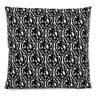Contemporary Geometric Black Damask Links Square Accent Pillow