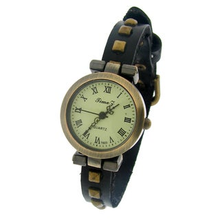 Moise Women's Single-studded Leather Band Watch
