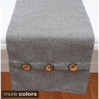 Chelsea Texture Faux Linen Button Table Runner