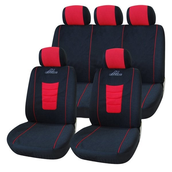 Adeco Black/ Red 9-piece Car Vehicle Seat Covers