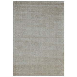 Hand-loomed Ivory Solid Pattern Wool Rug (5' x 8')
