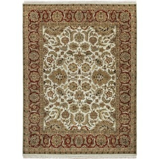 Hand-knotted Ivory/ White Oriental Pattern Wool Rug (12' x 15')