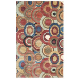 Hand-Tufted Beige/ Brown Abstract Pattern Wool/ Silk Rug (7'4x7'10)