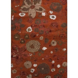 Hand-knotted Red/ Orange Floral Pattern Wool/ Silk Rug (5'6 x 8'6)