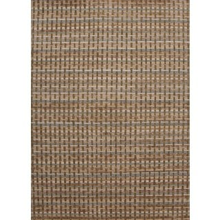 Hand-knotted Beige/ Brown Geometric Pattern Wool/ Silk Rug (3'6 x 5'6)
