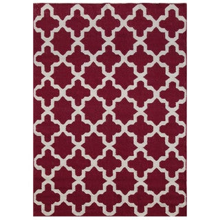 Flat-weave Pink/ Purple Abstract Pattern Wool Rug (9' x 12')