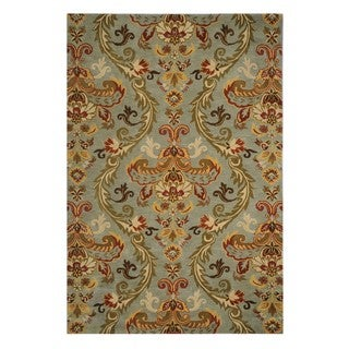 Hand-Tufted Blue Floral Pattern Wool Rug (2'3x10)