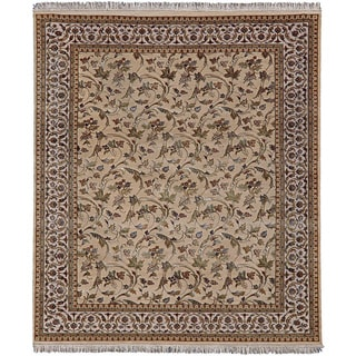 Hand-knotted Gold Oriental Pattern Wool/ Silk Rug (8' x 10')