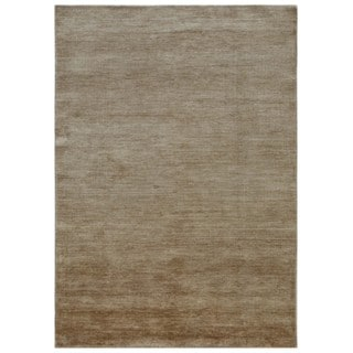 Hand-knotted Ivory Solid Pattern Wool/ Silk Casual Rug (5' x 8')