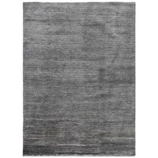 Hand-knotted Grey/ Black Solid Pattern Wool/ Silk Casual Rug (5' x 8')