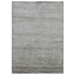 Hand-knotted Blue Solid Pattern Wool/ Silk Casual Rug (5' x 8')
