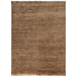 Hand-knotted Beige/ Brown Solid Pattern Wool/ Silk Casual Rug (5' x 8')