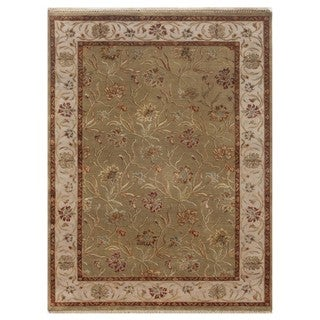 Hand-Knotted Green Floral Pattern Wool/ Silk Rug (8x10)