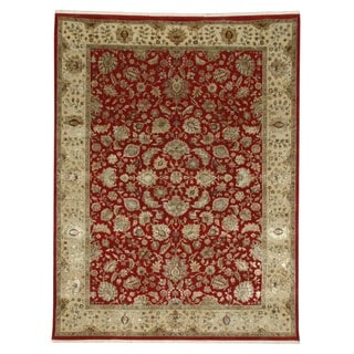 Hand-knotted Red/ Orange Floral Pattern Wool/ Silk Rug (8' x 10')