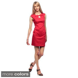 Amelia Women's Front Bow Cotton Satin Sheath Dress