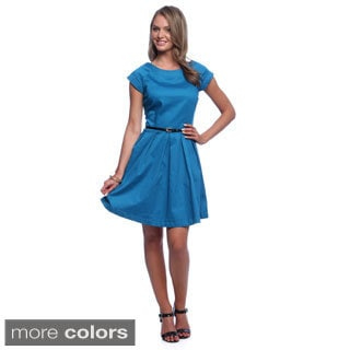 Amelia Women's Fit and Flair Belted Cotton Satin Dress