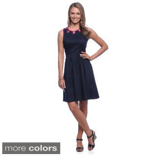 Amelia Women's Fit and Flair Sleeveless Cotton Satin Dress with Contrast Neck Detail