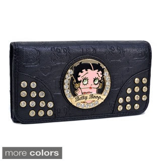 Betty Boop Rhinestone Decor Checkbook Wallet with Embossed Designs