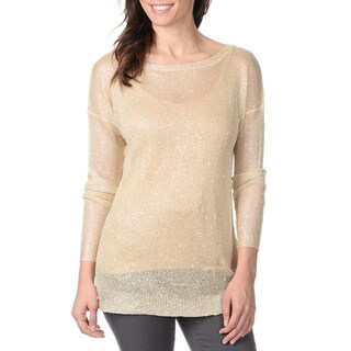 Yal New York Women's Beige Crochet and Sequins Lightweight Sweater