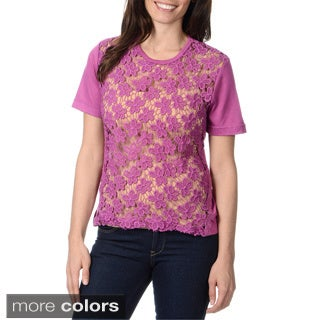 Yal New York Women's Short Sleeve Battenberg Lace Top