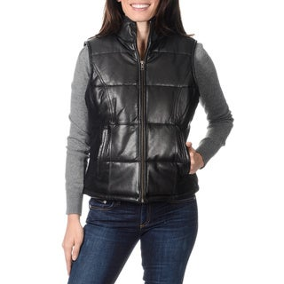 Whetblu Women's Black Genuine Leather Vest
