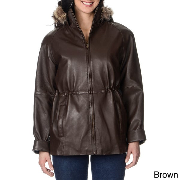 Whetblu Women's Faux Fur Trimmed Hooded Leather Jacket