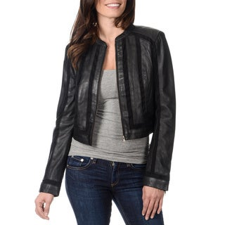 Whetblu Women's Black Novelty Fabric Mixed Leather Jacket