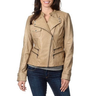 Whetblu Women's Stone Leather Novelty Motorcycle Jacket