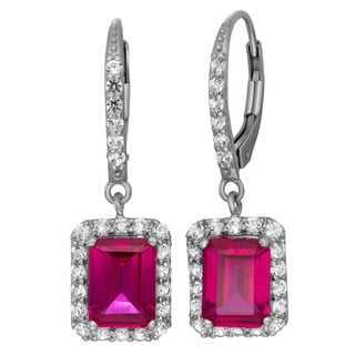 Gioelli Sterling Silver Gemstone Pave Leverback Earrings