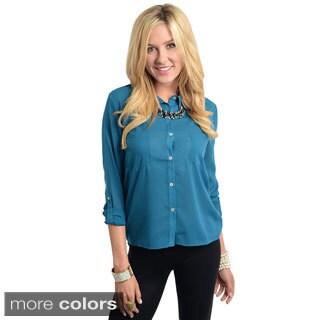 Stanzino Women's 3/4-length Sleeve Solid Button Down Shirt