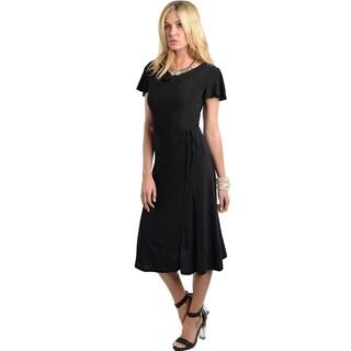 Stanzino Women's Mid-length Short Sleeve Solid Black Dress
