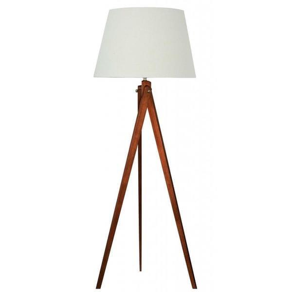 designer wood tripod floor lamp with brushed nickel accents 16190065. Black Bedroom Furniture Sets. Home Design Ideas