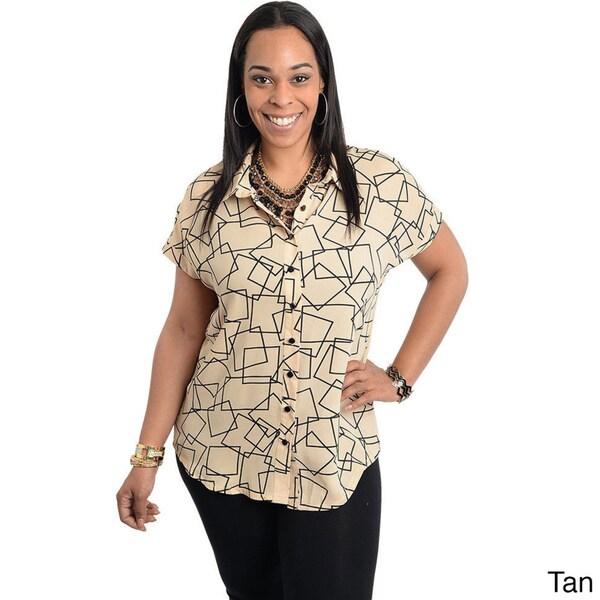 Stanzino Women's Plus Geometric Print Short Sleeve Button-down Shirt